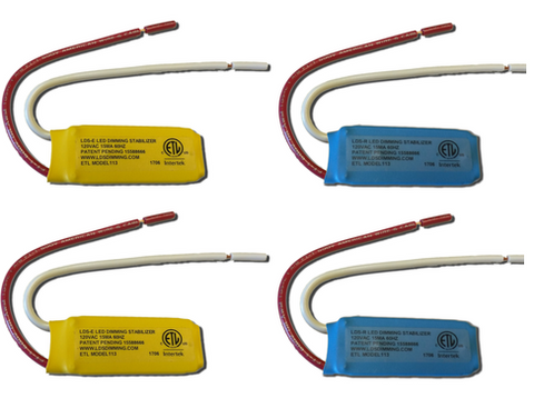Sample Pack: Four LED Dimming Stabilizers - (2) blue LDS-R and (2) yellow LDS-E (includes shipping)