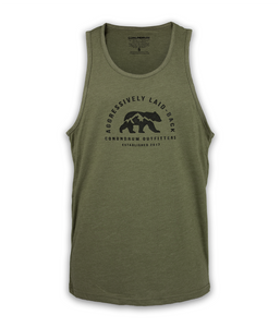 Aggressively Laid Back Tank - Heather Military Green