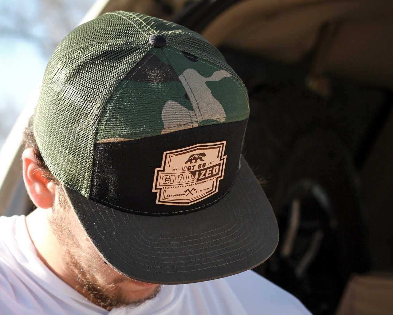 Not So Civilized High Profile Trucker Hat Camo