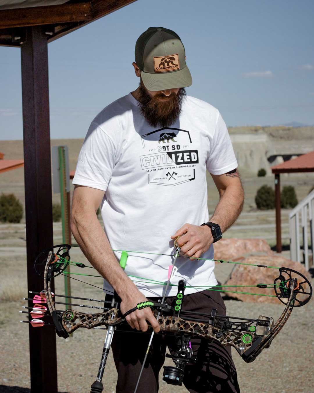 Not So Civilized White Short Sleeve and Loden Apex Trucker Hat