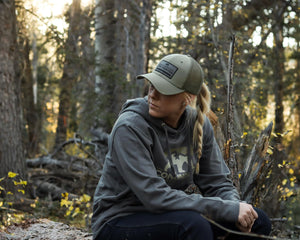 Off Grid Slate Grey Outdoor Hoodie and the Mountain Hat