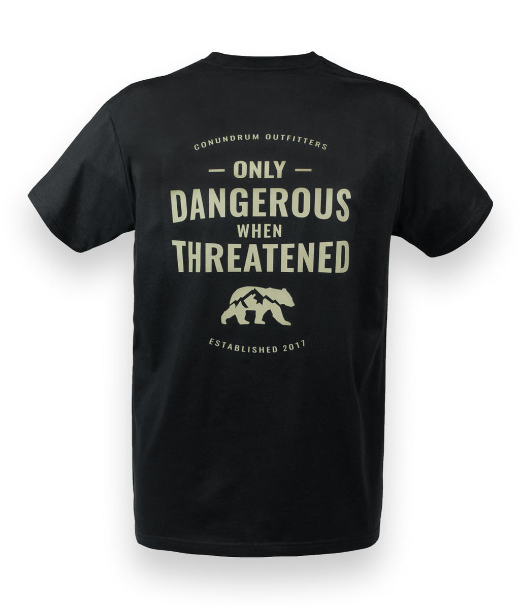 Only Dangerous When Threatened Short Sleeve Black Shirt