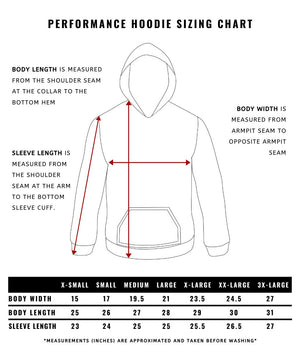 Performance Hoodie Sizing Chart