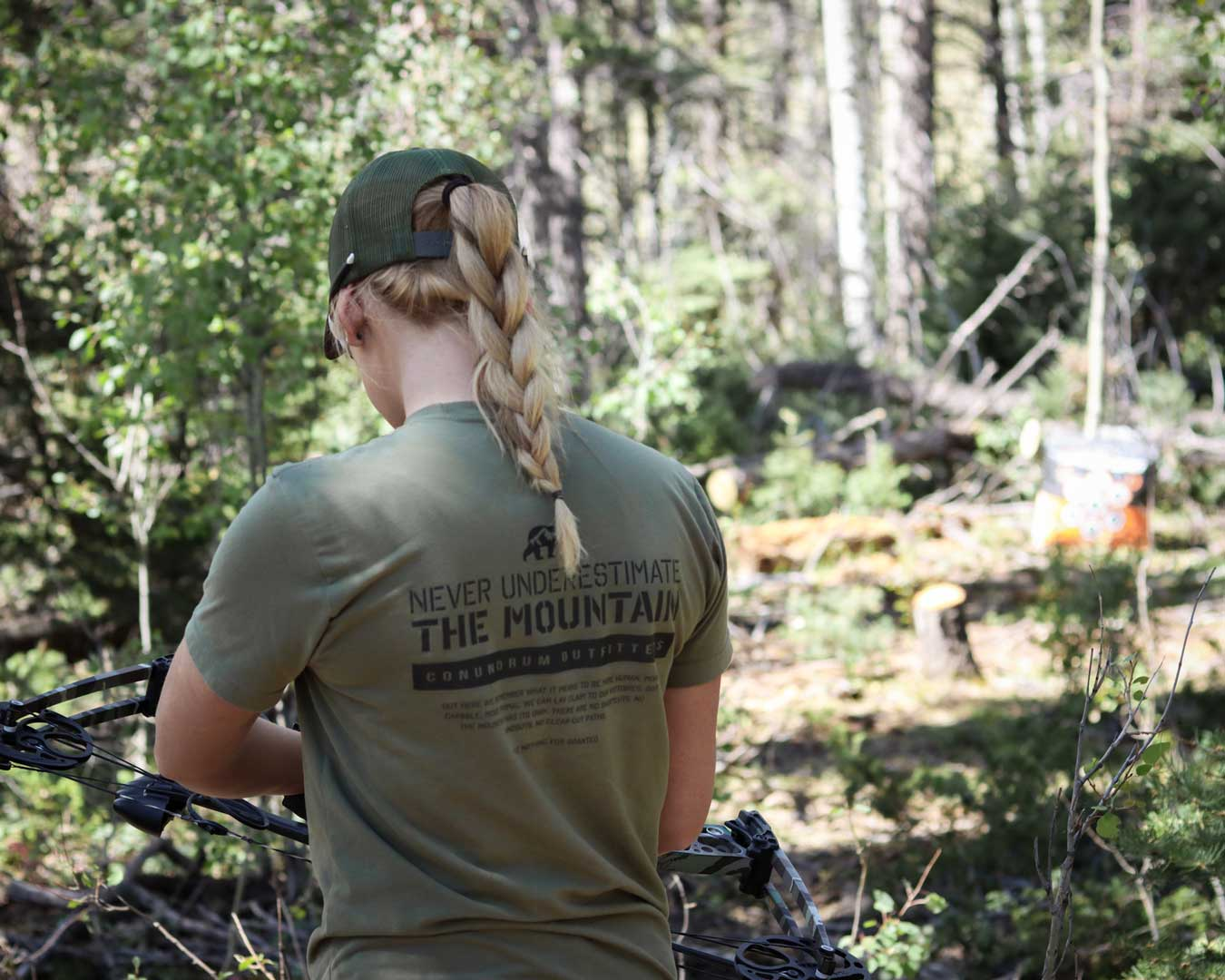Never Underestimate the Mountain Short Sleeve Military Green Archery