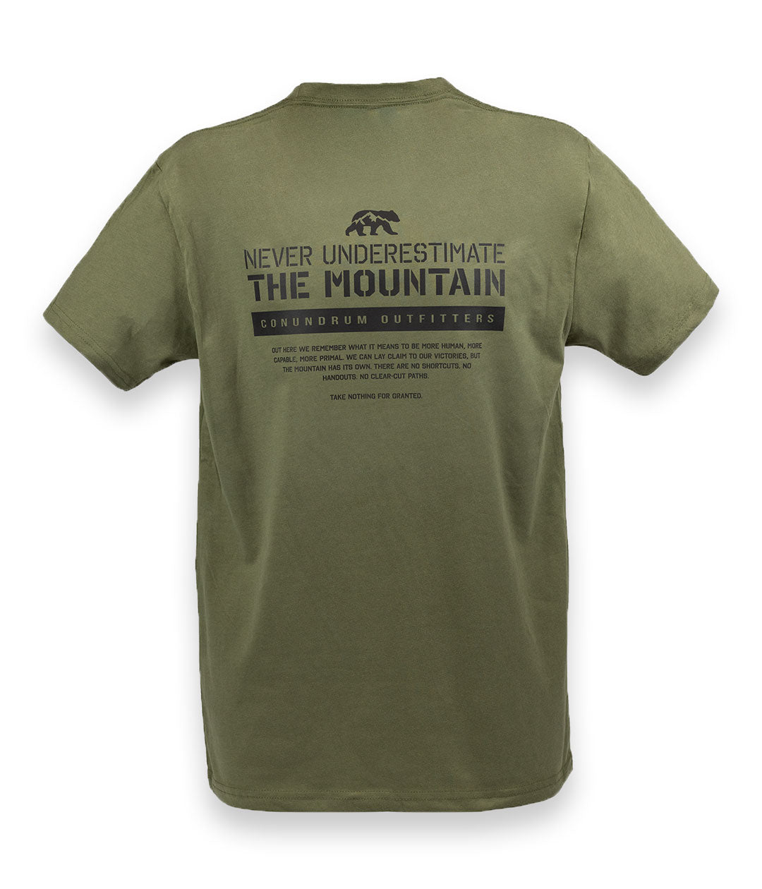 Never Underestimate the Mountain Short Sleeve Military Green Back