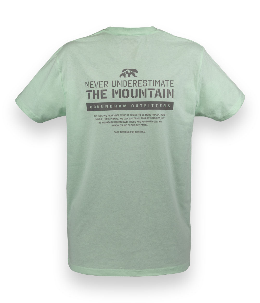 Never Underestimate the Mountain Short Sleeve Mint Outdoor Tshirt Back