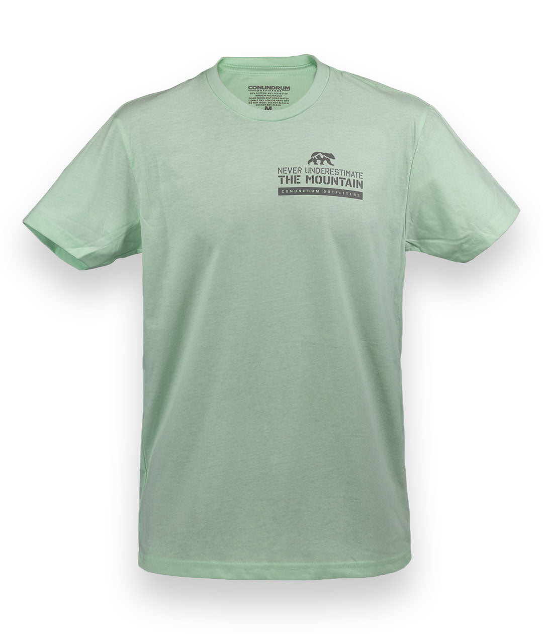 Never Underestimate the Mountain Short Sleeve Mint Outdoor Tshirt Front