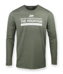 Never Underestimate the Mountain Stone Grey Thermal