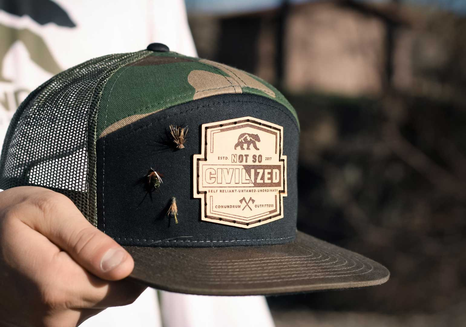 Not So Civilized High Profile Trucker Hat Camo Fly Fishing