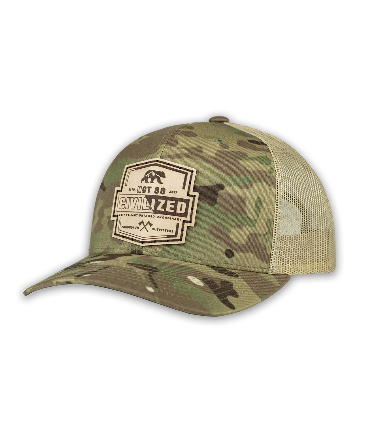 Uncivilized Trucker Hat - Multicam Khaki
