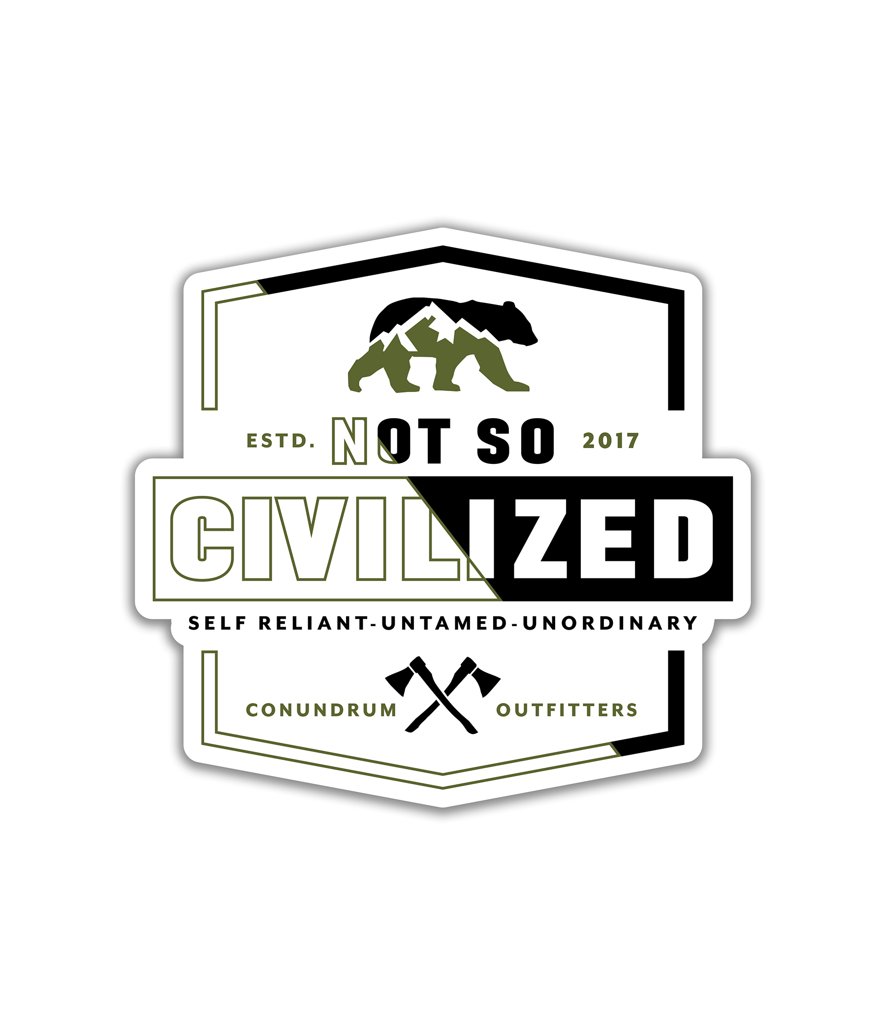 Uncivilized Sticker - White