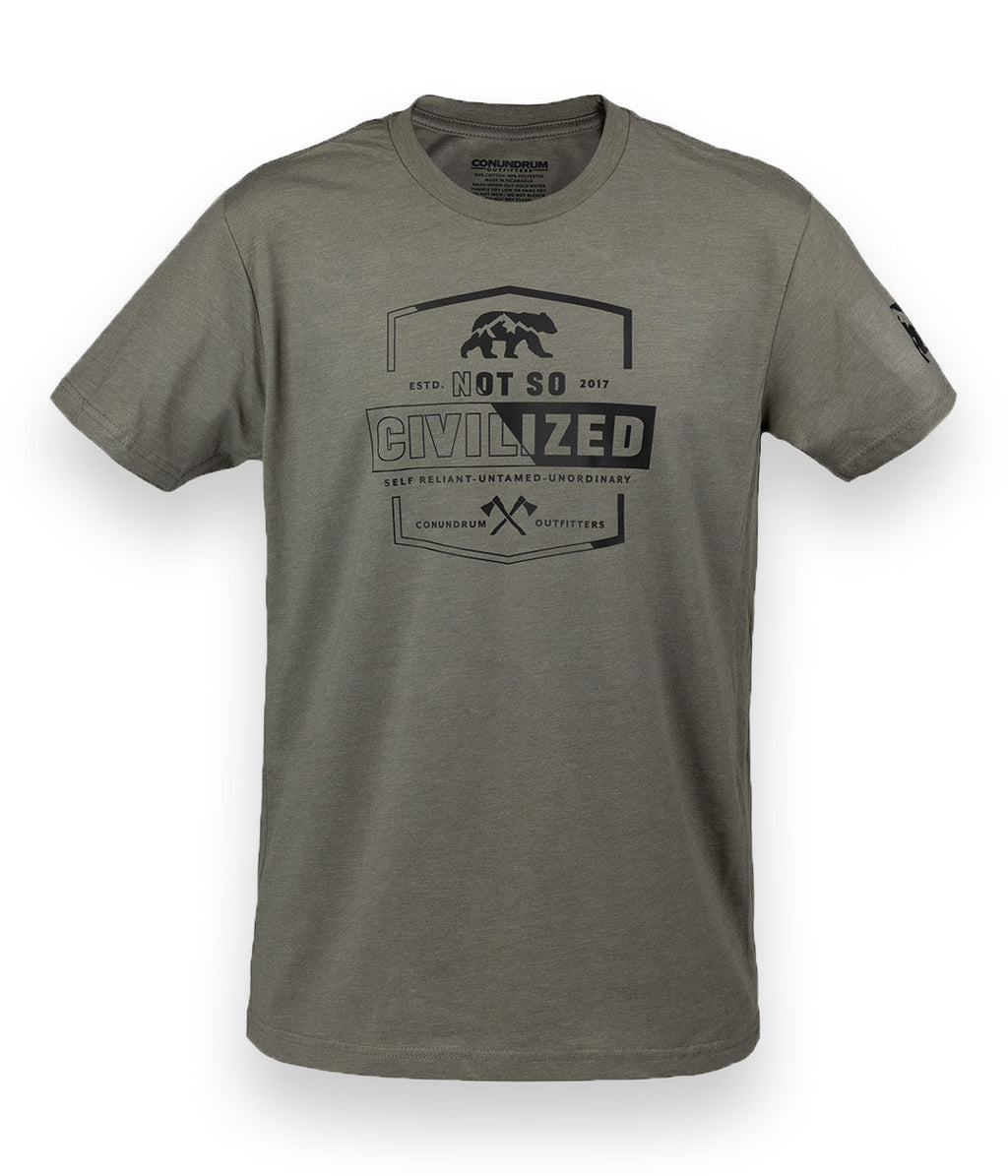 Not So Civilized Short Sleeve Stone Grey Outdoor Shirt
