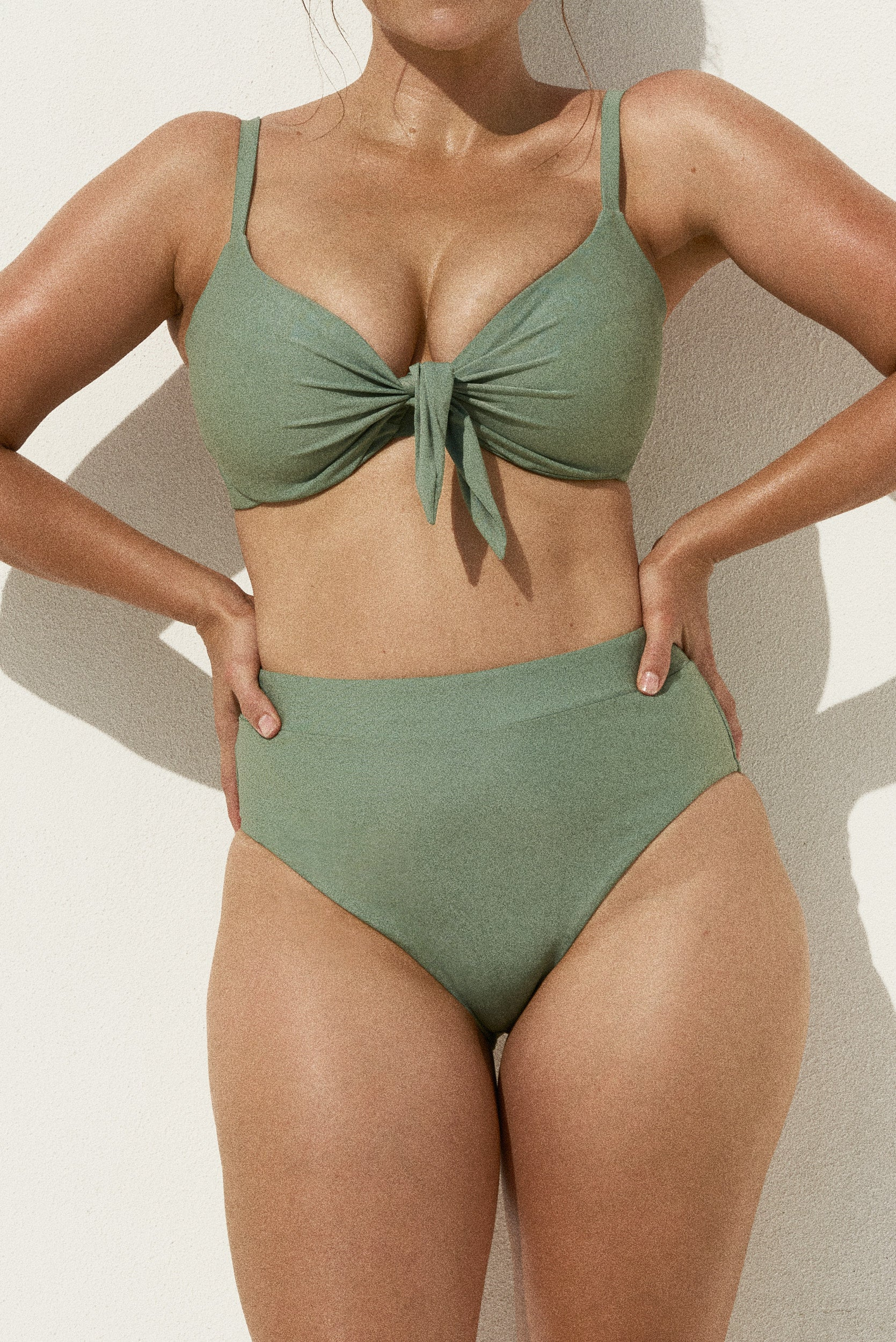 MARVELL LANE'S EMELIE BIKINI TOP IN EUCALUYPTUS COLOUR. AVAILABLE CUP SIZES 8D - 16H. EUCALYPTUS COLOUR CLOSE TO OLIVE GREEN COLOUR