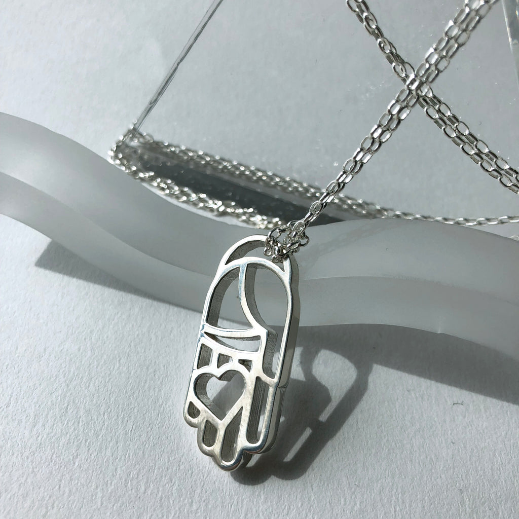 Silver Heart in Hand Necklace