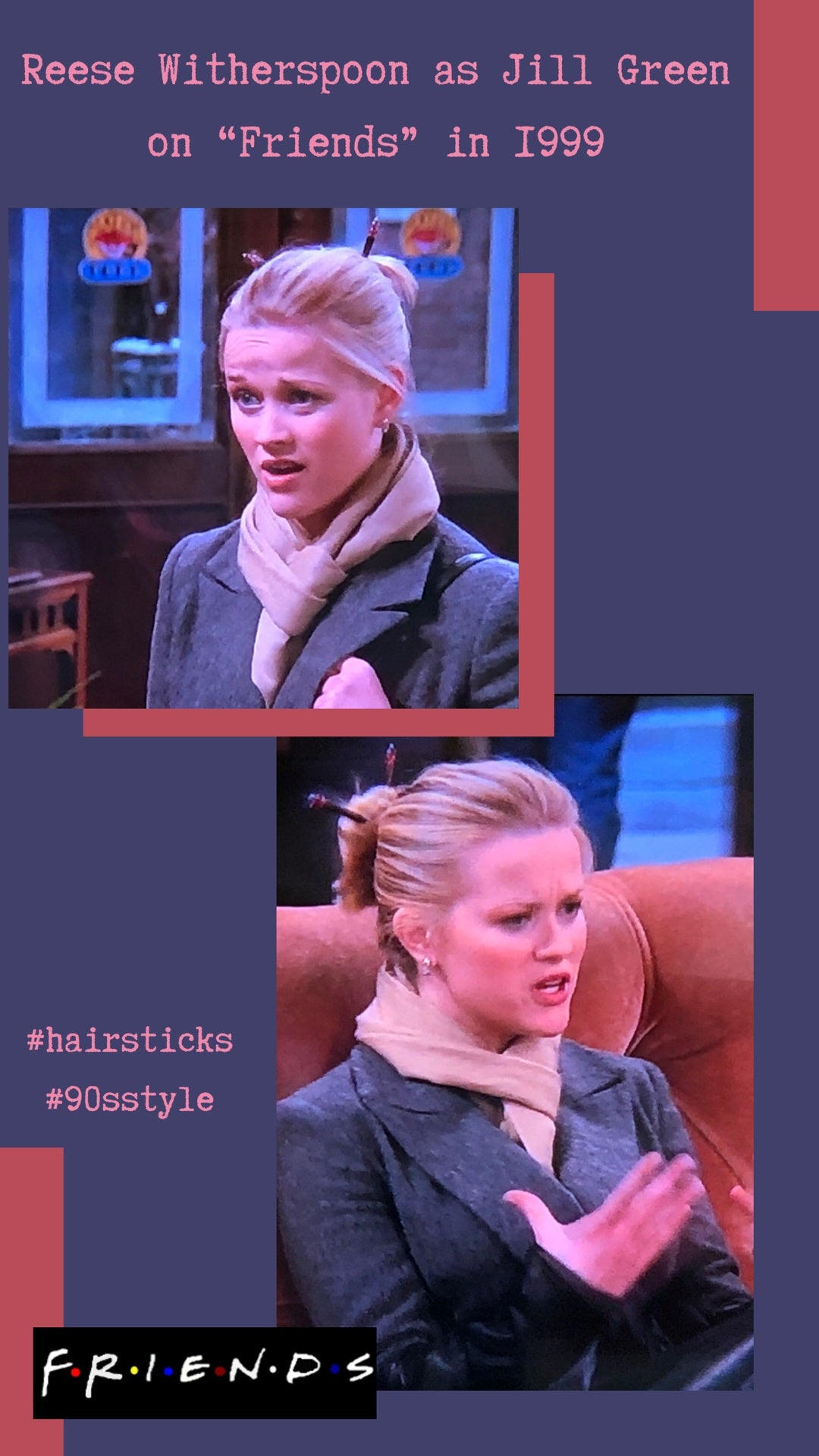 Reese Witherspoon, as Jill Green on Friends TV, wearing Hair Sticks
