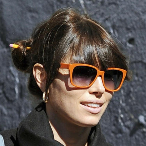 Jessica Biel wears a hair stick in her messy bun