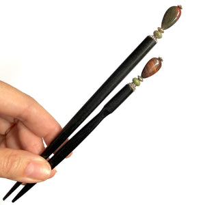 A standard and large size of the Bree Tidal Hair Stick made from a teardrop Jasper bead.