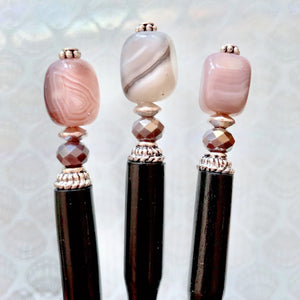 Three of the Cassie Hair Stick made from lavender gray agate stone nuggets.