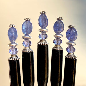 A group of five of our Claudia Hair Stick made from Tanzanite Stone and matching Swarovski crystal.