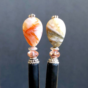Two of the Gemma Tidal Hair Stick made from Bamboo Agate Stone beads.
