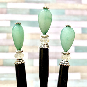 Three of the the Joanna Tidal Hair Stick made from aqua green Aventurine stone beads