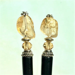 Two of the Layla Hair Sticks made from Yellow Citrine nugget beads.