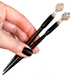 A set of two of our Lindsey Hair Stick made from a silver Czech glass bead