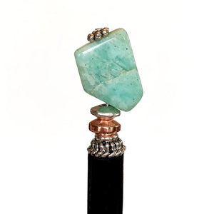 A close up of our Selina Hair Stick made from Turquoise Amazonite stone.