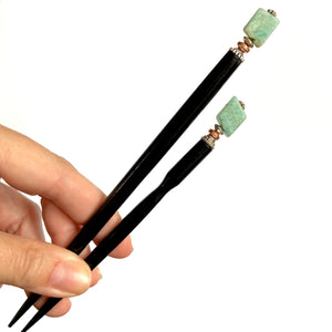 The standard and large sizes of our Selina Hair Stick made from Turquoise Amazonite stone.