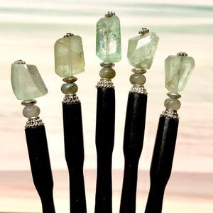 Five of our Kira Tidal Hair Stick made from green fluorite nugget stone.