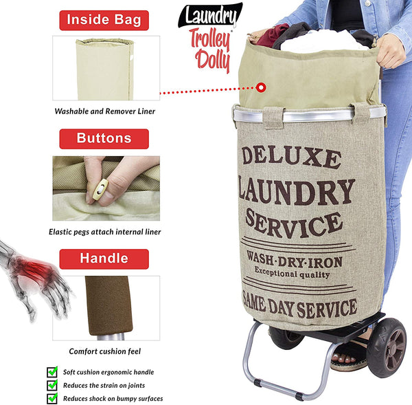 Laundry hamper cart with inside bag.