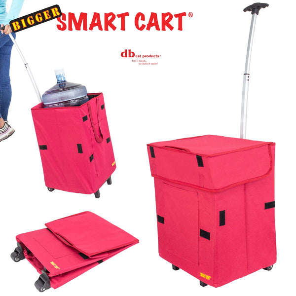 3 red foldable shopping cart.