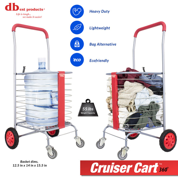 Laundry cart hauling water jug.