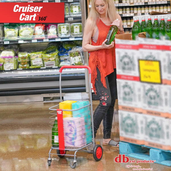 Woman grocery shopping with cart.