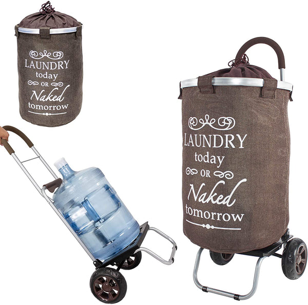 Laundry hamper cart on wheels.