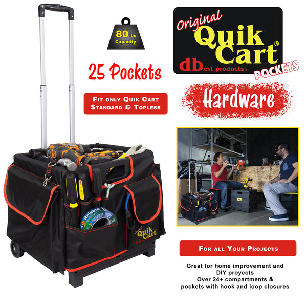 Cart with pockets, hardware.