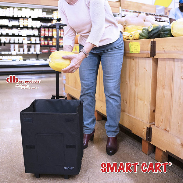 Woman Grocery Shopping with Smart Cart.