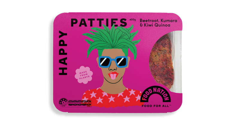 Food Nation Beetroot, Sweet Potato & Quinoa Happy Patties (Frozen, 400g)