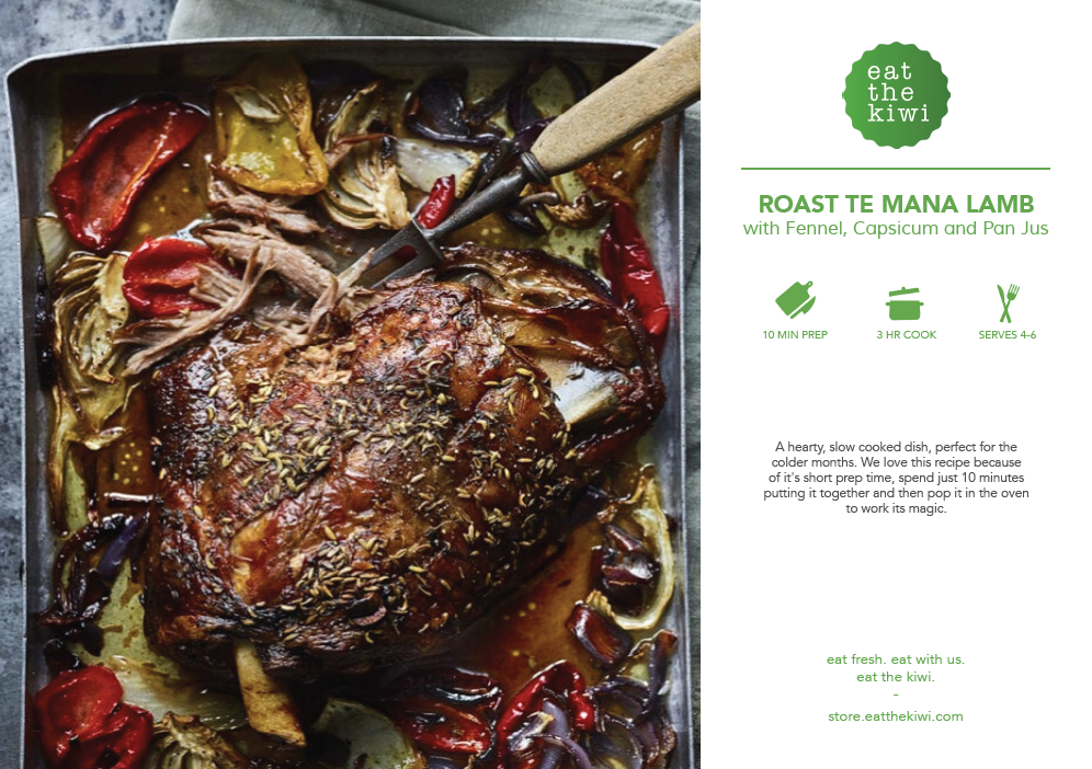 Roast TE MANA LAMB With Fennel, Capsicum and Pan Jus Recipe Kits (Serves 4)