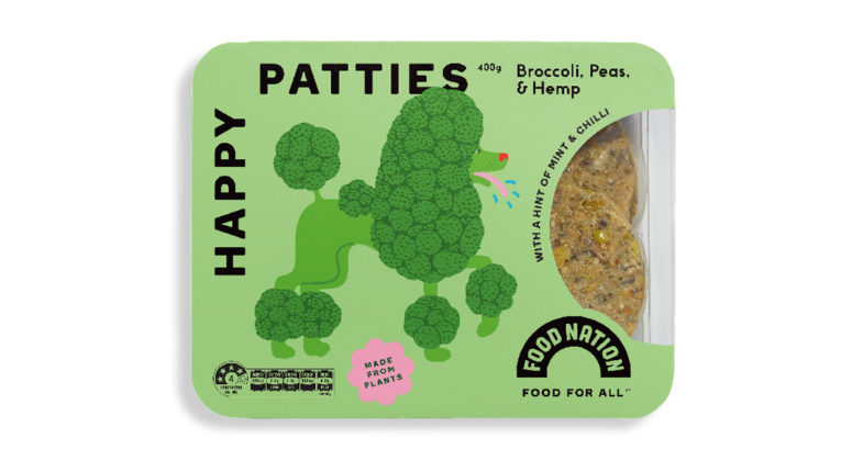 Food Nation Broccoli, Peas & Hemp Happy Patties (Frozen, 400g)