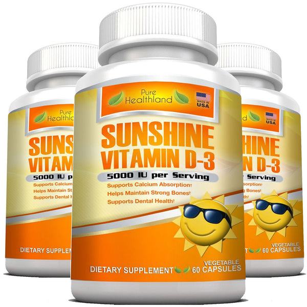 High Potency Sunshine Vitamin D3 5000 iu Per Veggie Capsule - 3 Bottles