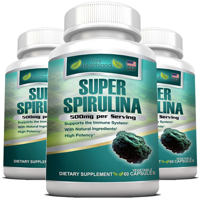 Spirulina Supplement Veggie Capsules By Pure Healthland - 3 Bottles - Pure Healthland