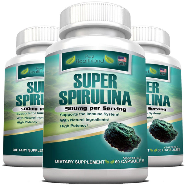 Spirulina Supplement Veggie Capsules By Pure Healthland - 3 Bottles