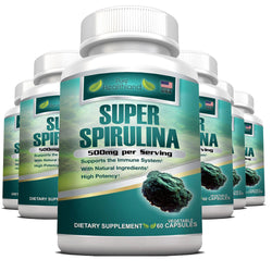 Spirulina Supplement Veggie Capsules By Pure Healthland - 6 Bottles