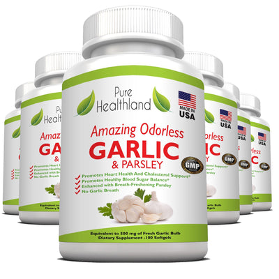 Odorless Garlic And Parsley Supplements - 6 Bottles - Pure Healthland