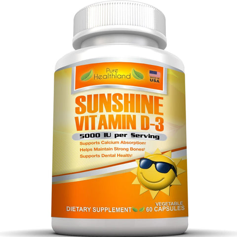 High Potency Sunshine Vitamin D3 5000 iu Per Veggie Capsule