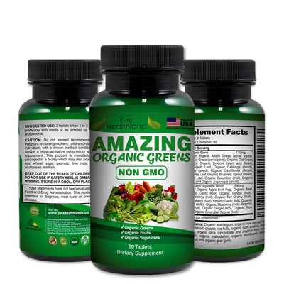 Organic Greens NON GMO Tablets - 3 Bottles - Pure Healthland