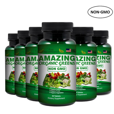 Organic Greens NON GMO Tablets - 6 Bottles - Pure Healthland