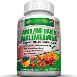 Daily Multivitamin Liquid Filled Capsules For Men and Women Over 40, 50, 60, and Seniors