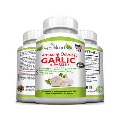 Odorless Garlic And Parsley Supplements - 3 Bottles - Pure Healthland